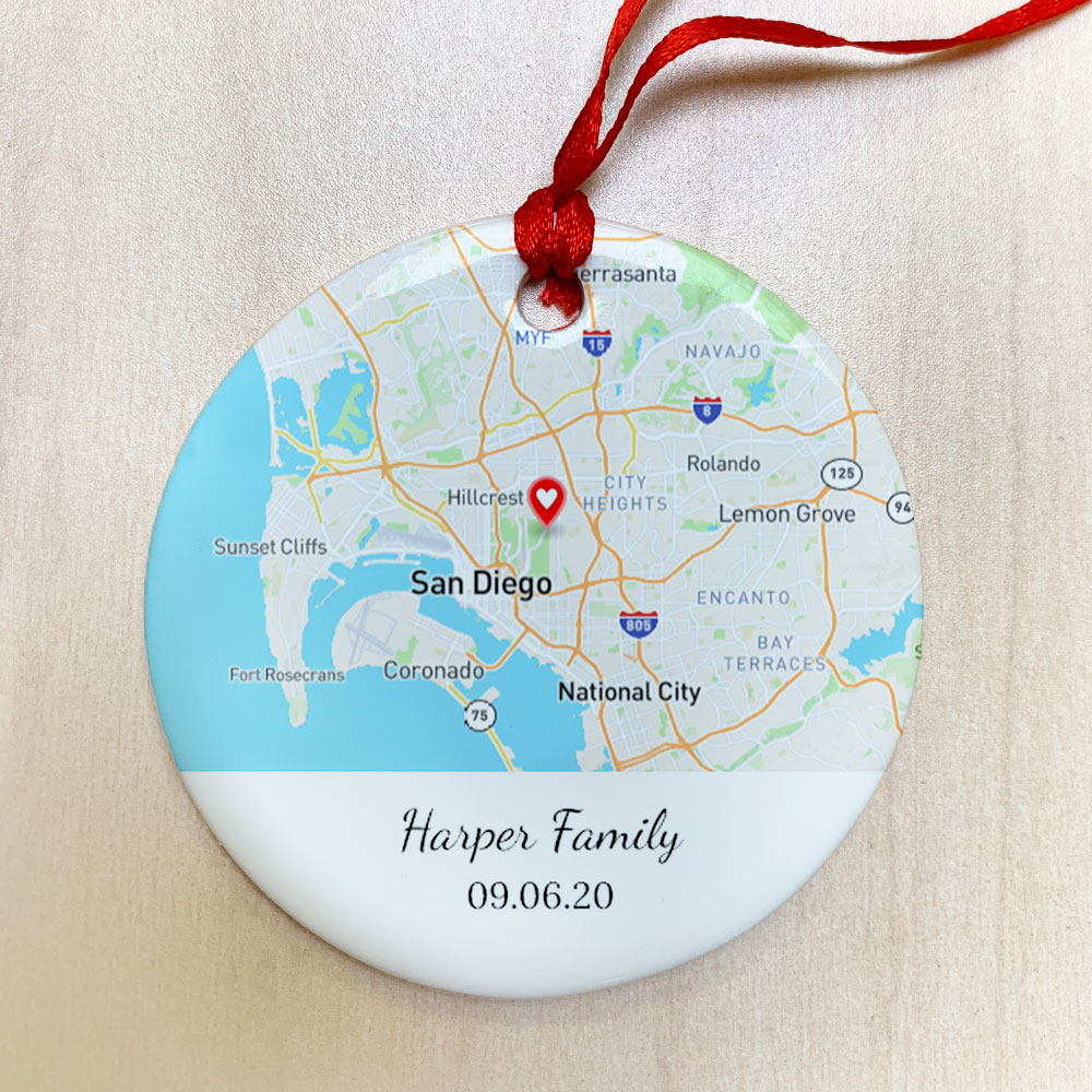 Picture of Ceramic Custom Map Ornament