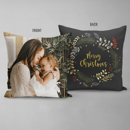 Merry Christmas Wreath Double Sided Pillow