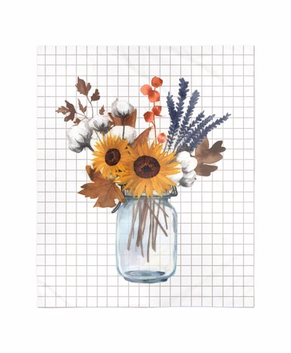 Picture of Fall Floral Mason Jar Blanket