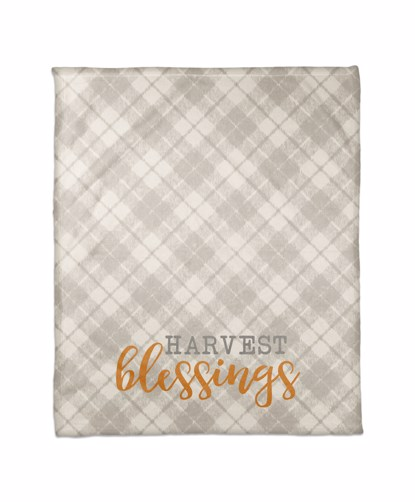 Picture of Harvest Blessings on Gray Plaid Blanket