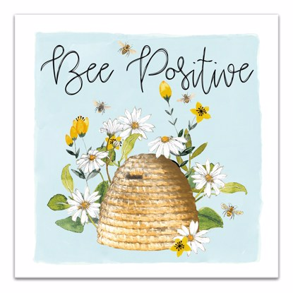 Picture of Be Positive Honey Bee 14x14 Canvas Wall Art