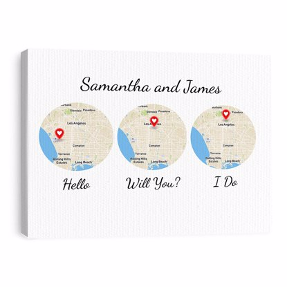 Picture of White Hello, Will You, I Do Custom Maps Canvas 16x20