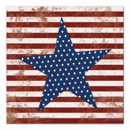 Picture of Stars and Stripes Distressed 14x14 Canvas Wall Art