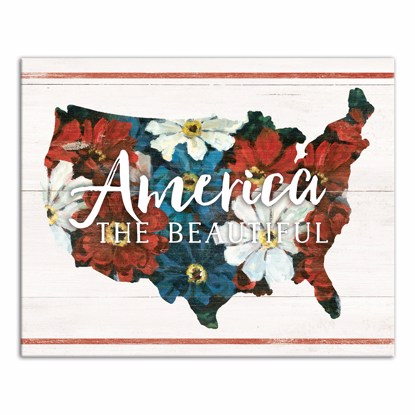 Picture of America the Beautiful Country Flowers 16x20 Canvas Wall Art