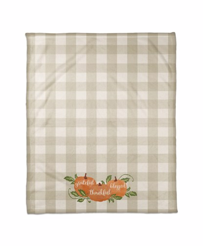 Picture of Grateful Thankful Blessed Plaid Pumpkins Blanket