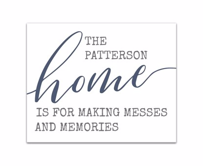 Picture of Messes and Memories 16x20 Personalized Canvas Wall Art