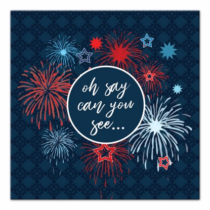 Picture of Fireworks Oh Say Can You See 14x14 Canvas Wall Art