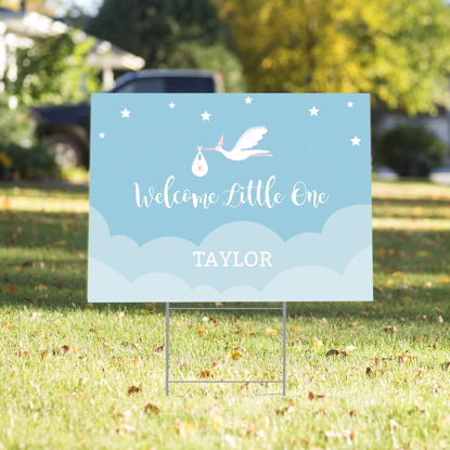 Picture of Welcome Little One Yard Sign - Blue