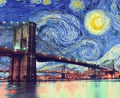 Picture of Starry Brooklyn Night Canvas - 11x14