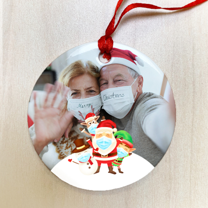 Face Mask Santa Ceramic Ornament