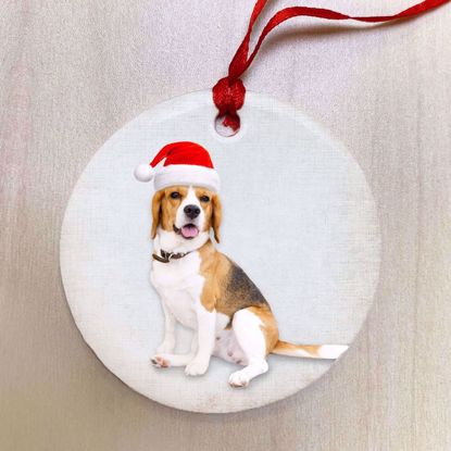Picture of Adventure Pets Ceramic Ornament - Santa's Hat