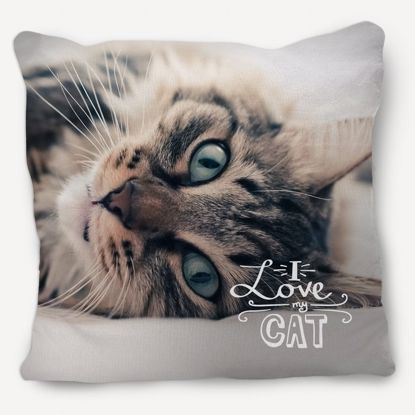 Picture of I Love My Cat Pillow with Custom Image