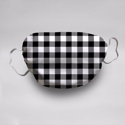 Black & White Gingham Face Mask