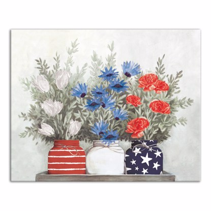 Picture of Patriotic Flowers Mason Jar 16x20 Canvas Wall Art
