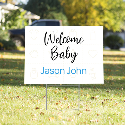Picture of Welcome Baby Yard Sign - Blue
