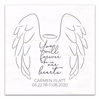 Picture of Forever Be In Our Hearts Angel Wings 12x12 Personalized Canvas Wall Art