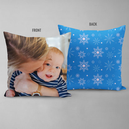 Snowflakes on Blue Double Sided Pillow