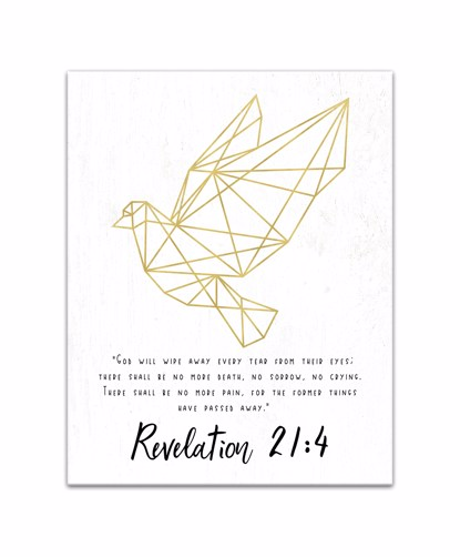 Picture of Golden Geometric Dove With Bible Verse Revelation 11x14 Canvas Wall Art