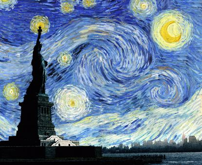 Picture of Starry Liberty Night Canvas - 11x14