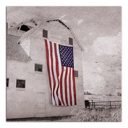 Picture of Patriotic Barn 14x14 Canvas Wall Art