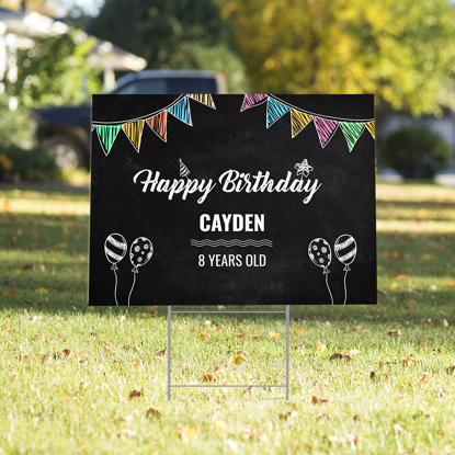 Picture of Happy Birthday Yard Sign - Black