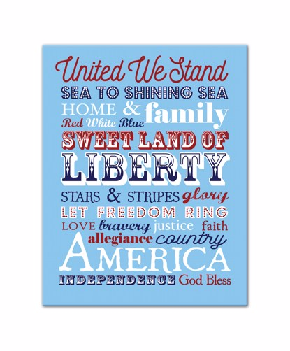Picture of Patriotic Words 11x14 Canvas Wall Art
