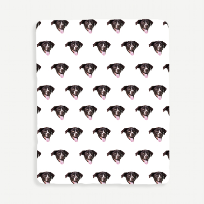 Face Pattern White Background Blanket