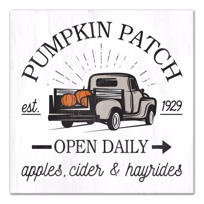 Picture of Pumpkin Patch Open Daily 14x14 Canvas Wall Art