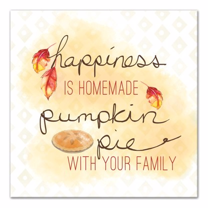 Picture of Happiness is Homemade Pumpkin Pie 14x14 Canvas Wall Art