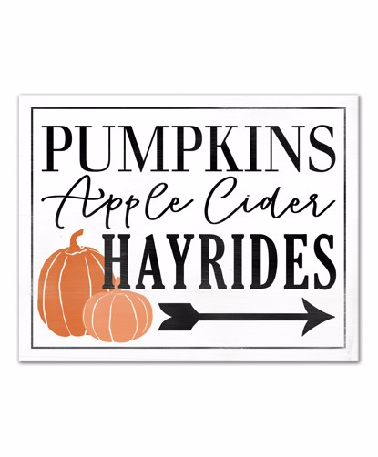 Picture of Pumpkins, Apple Cider, Hay Rides 11x14 Canvas Wall Art