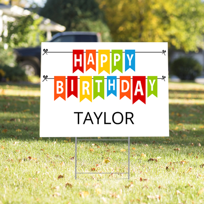 Picture of Happy Birthday Yard Sign - White