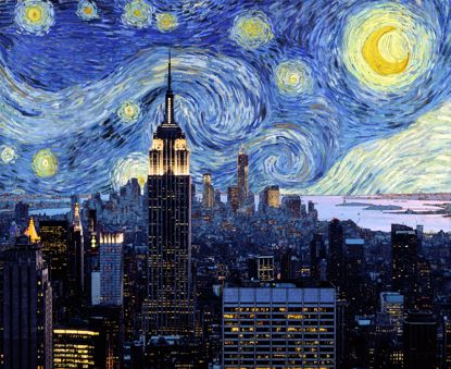 Picture of Starry Empire Night Canvas - 11x14