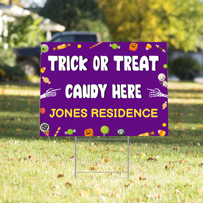 Candy Here Yard Sign