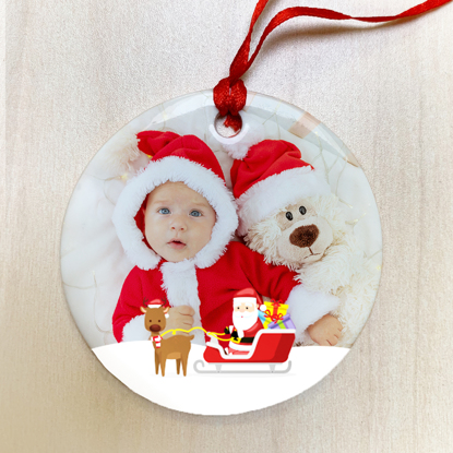 Santa's Here Ceramic Ornament