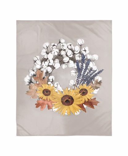 Picture of Cotton Harvest Wreath Blanket