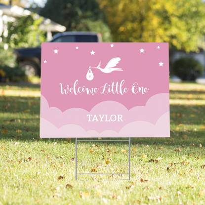 Picture of Welcome Little One Yard Sign - Pink