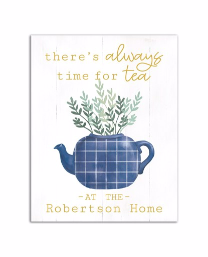 Picture of Always Time For Tea 11x14 Personalized Canvas Wall Art