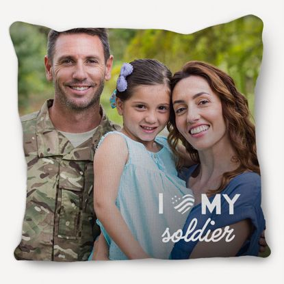 Picture of I Heart My Soldier Pillow with Custom Image