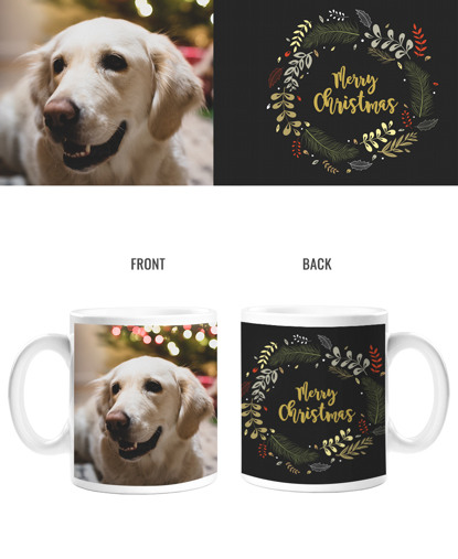 Merry Christmas Wreath Double Sided Mug