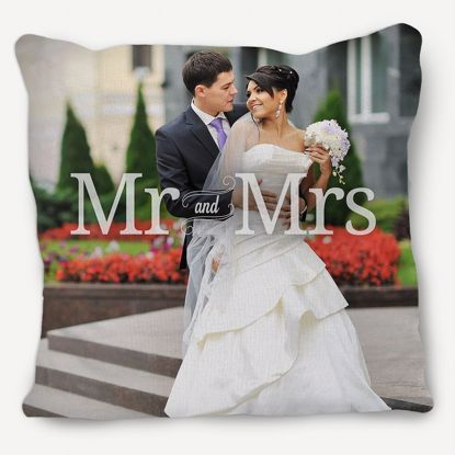 Picture of Custom Mr. and Mrs. Pillow with Personalized Image