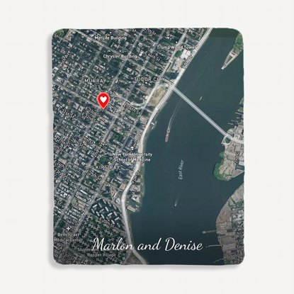 Picture of Custom Satellite Map Blanket with Text Personalization