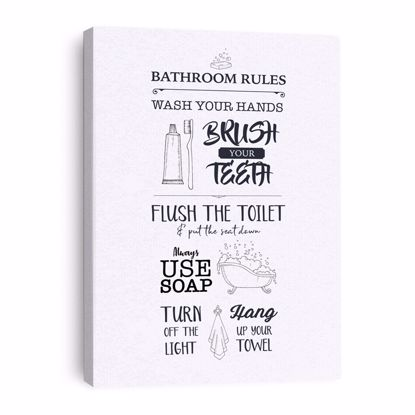 Picture of Bathroom Rules Canvas - 11x14