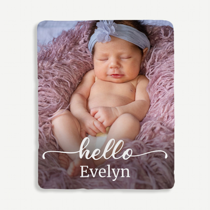 Hello New Baby Personalized Blanket