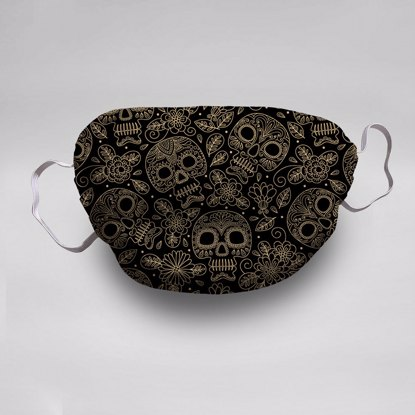 Gold Skulls Face Mask